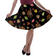 Thanksgiving Turkey Pattern A Line Skater Skirt