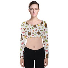 Thanksgiving Turkey Pattern Velvet Long Sleeve Crop Top