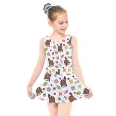 Thanksgiving Turkey Pattern Kids  Skater Dress Swimsuit by Valentinaart