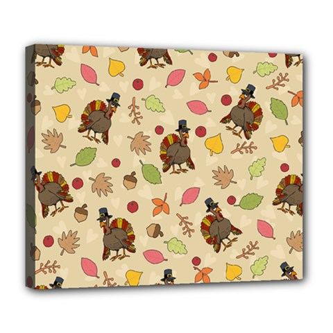 Thanksgiving Turkey Pattern Deluxe Canvas 24  X 20  (stretched) by Valentinaart