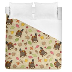 Thanksgiving Turkey Pattern Duvet Cover (queen Size) by Valentinaart
