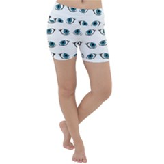 Blue Eyes Pattern Lightweight Velour Yoga Shorts by Valentinaart