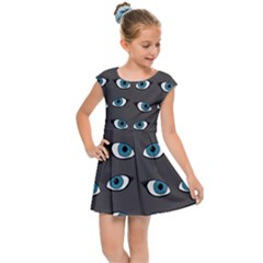 Blue Eyes Pattern Kids Cap Sleeve Dress by Valentinaart