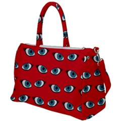 Blue Eyes Pattern Duffel Travel Bag by Valentinaart