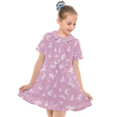 Christmas Pattern Kids  Short Sleeve Shirt Dress by Valentinaart