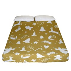 Christmas Pattern Fitted Sheet (queen Size) by Valentinaart
