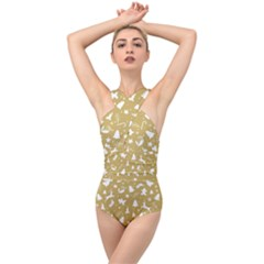 Christmas Pattern Cross Front Low Back Swimsuit by Valentinaart