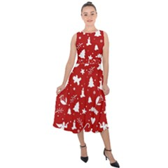 Christmas Pattern Midi Tie Back Chiffon Dress by Valentinaart
