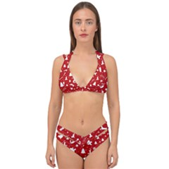 Christmas Pattern Double Strap Halter Bikini Set by Valentinaart