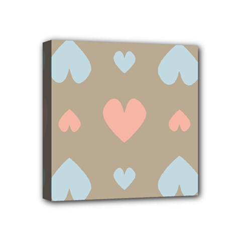 Hearts Heart Love Romantic Brown Mini Canvas 4  X 4  (stretched) by Sapixe
