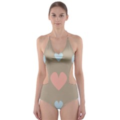 Hearts Heart Love Romantic Brown Cut Out One Piece Swimsuit