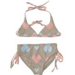 Hearts Heart Love Romantic Brown Kids  Classic Bikini Set