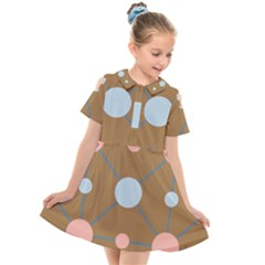 Planets Planet Around Rounds Kids  Short Sleeve Shirt Dress