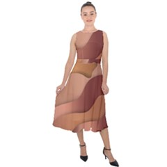 Autumn Copper Gradients Copyspace Midi Tie Back Chiffon Dress