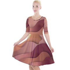 Autumn Copper Gradients Copyspace Quarter Sleeve A Line Dress by Sapixe