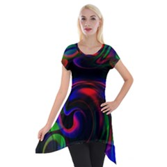 Swirl Background Design Colorful Short Sleeve Side Drop Tunic