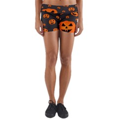 Halloween Pumpkin Autumn Fall Yoga Shorts