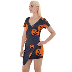 Halloween Pumpkin Autumn Fall Short Sleeve Asymmetric Mini Dress by Sapixe