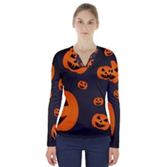 Halloween Pumpkin Autumn Fall V Neck Long Sleeve Top