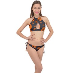 Halloween Pumpkin Autumn Fall Cross Front Halter Bikini Set