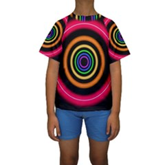 Neon Light Abstract Pattern Lines Kids  Short Sleeve Swimwear by Sapixe