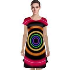 Neon Light Abstract Pattern Lines Cap Sleeve Nightdress by Sapixe