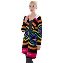 Neon Light Abstract Pattern Lines Hooded Pocket Cardigan