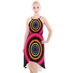Neon Light Abstract Pattern Lines High Low Halter Chiffon Dress