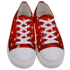 Stars Background Christmas Decoration Women s Low Top Canvas Sneakers