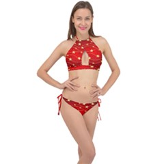Stars Background Christmas Decoration Cross Front Halter Bikini Set