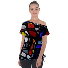 Art Bright Lead Glass Pattern Tie Up Tee by Sapixe