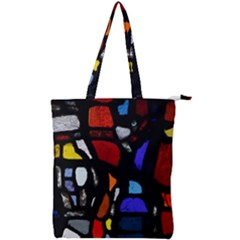 Art Bright Lead Glass Pattern Double Zip Up Tote Bag