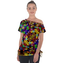 Color Mosaic Background Wall Tie Up Tee by Sapixe