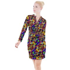 Color Mosaic Background Wall Button Long Sleeve Dress by Sapixe