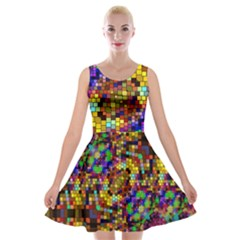 Color Mosaic Background Wall Velvet Skater Dress by Sapixe