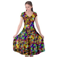 Color Mosaic Background Wall Cap Sleeve Wrap Front Dress