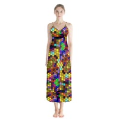 Color Mosaic Background Wall Button Up Chiffon Maxi Dress