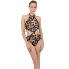 Color Mosaic Background Wall Halter Side Cut Swimsuit by Sapixe