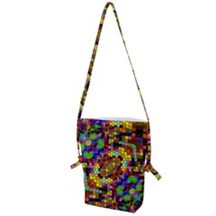 Color Mosaic Background Wall Folding Shoulder Bag by Sapixe