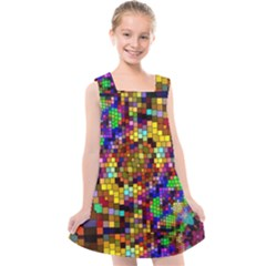 Color Mosaic Background Wall Kids  Cross Back Dress by Sapixe