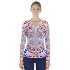 Wallpaper Pattern Colorful Color V Neck Long Sleeve Top