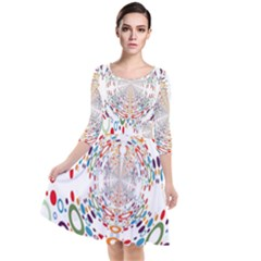 Wallpaper Pattern Colorful Color Quarter Sleeve Waist Band Dress