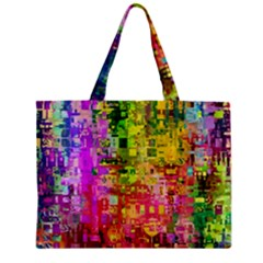 Color Abstract Artifact Pixel Zipper Mini Tote Bag by Sapixe