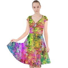 Color Abstract Artifact Pixel Cap Sleeve Front Wrap Midi Dress by Sapixe