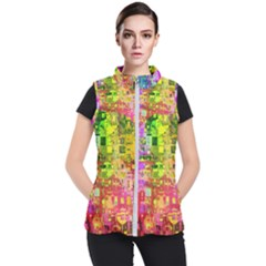 Color Abstract Artifact Pixel Women s Puffer Vest