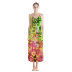 Color Abstract Artifact Pixel Button Up Chiffon Maxi Dress