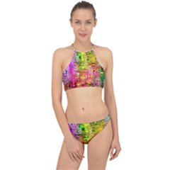 Color Abstract Artifact Pixel Racer Front Bikini Set