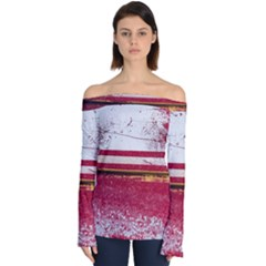 Boat Chipped Close Up Damaged Off Shoulder Long Sleeve Top