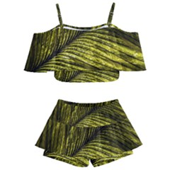 Feather Macro Bird Plumage Nature Kids  Off Shoulder Skirt Bikini by Sapixe