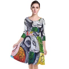 Graffiti The Art Of Spray Mural Quarter Sleeve Waist Band Dress